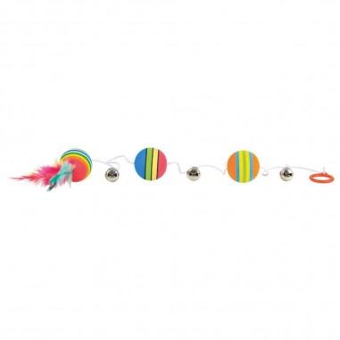 Regenboogballen aan elastisch koord